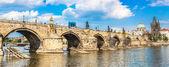 Karlov or charles bridge and river Vltava in Prague — Stock Photo