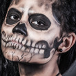 Young woman in day of the dead mask skull — Stock Photo
