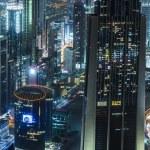 Dubai downtown night scene — Stock Photo