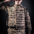 Army soldier saluting — Stock Photo