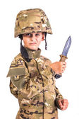 Young soldier with knife — Stock Photo