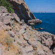 Summer view seacoast. Sudak beach. Black Sea, Ukraine — Stock Photo