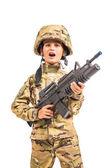 Joven soldado con fusil — Foto de Stock