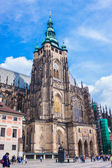 The west facade of St. Vitus Cathedral in Prague — Стоковое фото