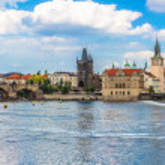 Karlov or charles bridge and river Vltava in Prague in summer — Stock Photo #35291769