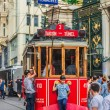 Old red tram in taksim, istanbul, turkey — Stock Photo #35290229