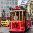 Old red tram in taksim, istanbul, turkey — Stock Photo #35290667