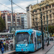 Modern tram on a brdige in Istanbul — Stock Photo