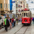 Old red tram in taksim, istanbul, turkey — Stock Photo
