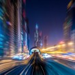 Dubai metro railway in motion blur — Stock Photo
