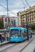 Modern tram on a brdige in Istanbul — Стоковое фото