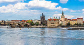 Karlov or charles bridge and river Vltava in Prague in summer — Foto de Stock