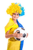 Football fan with ukrainian flag and a ball — Foto Stock
