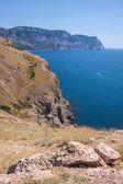 Summer view seacoast. Sudak beach. Black Sea, Ukraine — Stock Photo