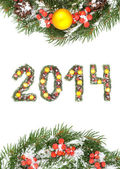 Christmas card with a christmas ornamen 2014 — Stock Photo
