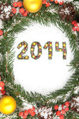 Noel kartı ile noel ornamen 2014 — Stok fotoğraf