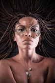 Portrait of a naked african american woman with dreadlocks — Stock Photo