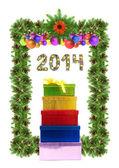 Christmas card with a christmas ornament 2014 — Stock Photo