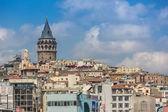 Panoráma s galatské věže nad zlatý roh v istanbulu — Stock fotografie