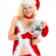 Sexy santa helper with big disco ball — Стоковое фото