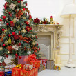 Christmas tree in modern interior living room — Stock Photo #35568625