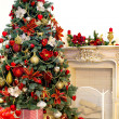 Christmas tree in modern interior living room — Stock Photo