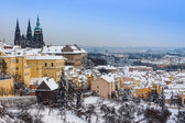 Prague in winter, panorama and cityscape — Stock Photo