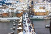 Karlov or Charles bridge in Prague in winter — Stock Photo