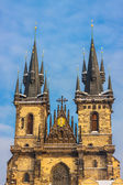 Church of Our Lady before Tyn in evening in Prague — Stockfoto