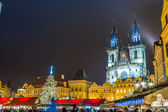 The Old Town Square at winter night in the center of Prague City — Stock Photo