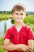 Closeup of cute young teen boy smiling — Foto Stock