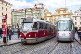 Dettaglio rosso tram di praga — Foto Stock