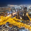 Dubai downtown night scene — Stock Photo