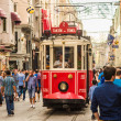 Old red tram in taksim, Istanbul, Turkey — Stock Photo #39554425