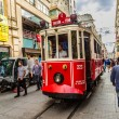Old red tram in taksim, Istanbul, Turkey — Stock Photo #39554587