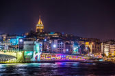 Vista di istanbul e la torre di galata e ponte di notte — Foto Stock