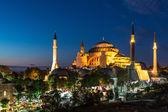 Hagia sophia in istanbul turkije 's nachts — Stockfoto