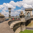 The Szechenyi Chain Bridge is a beautiful, decorative suspension bridge — Stock Photo