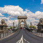 The Szechenyi Chain Bridge is a beautiful, decorative suspension bridge — Stock Photo #39701355