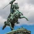 horse and rider statue of archduke karl in vienna at the heldenp — Stock Photo #39703711