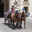 Traditional coach (Fiaker) today traveling tourists in Vienna — Stock Photo