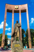 Monument of national Ukrainian hero S. Bandera and great trident — Foto de Stock