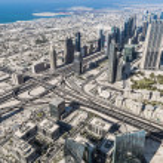Aerial view of Downtown Dubai — Stock Photo