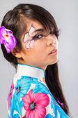 Beautiful asian woman wears a national dress — Stock Photo
