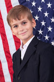 Boy with American flag — Stock Photo