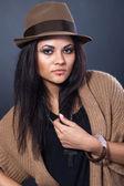 Woman in stylish hat — Stock Photo