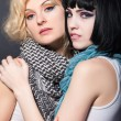 Two lesbians in scarves, are hugging — Stock Photo #41341713