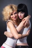 Two lesbians are hugging — Stockfoto