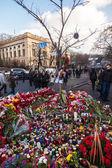 Oekraïense revolutie, euromaidan na een aanval door regering f — Stockfoto