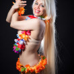 Blonde girl in hawaiian costume — Stock Photo #41738411